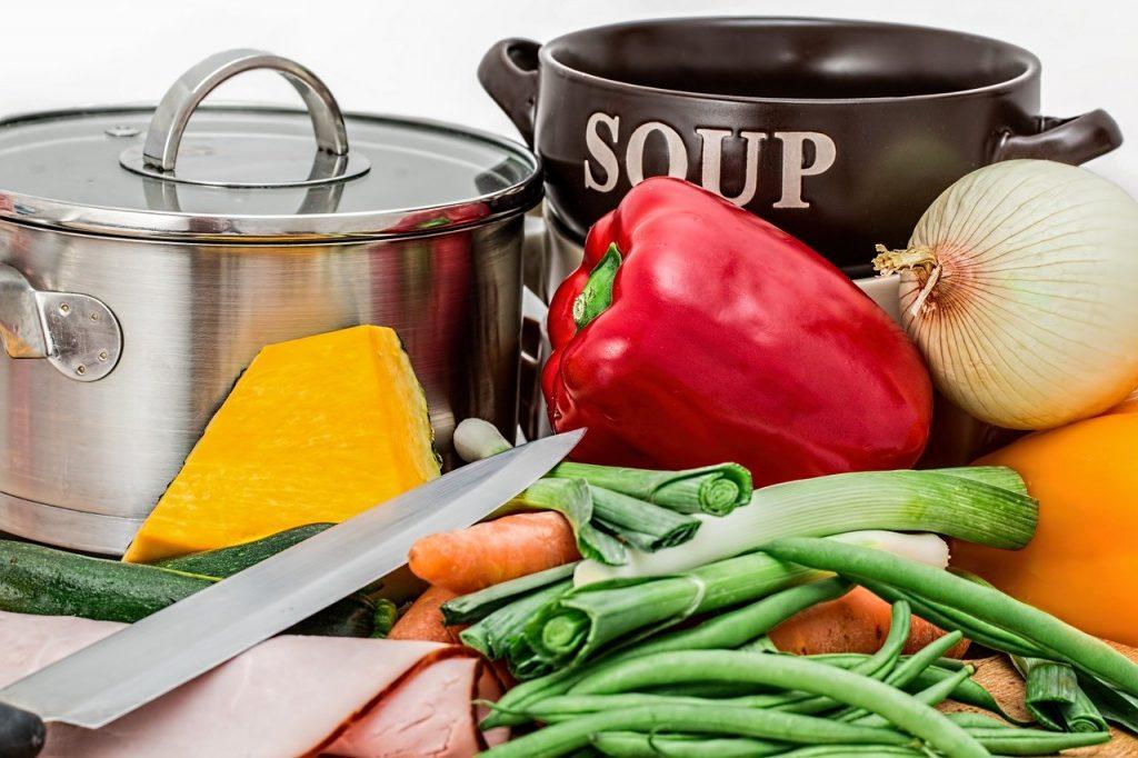 soup, vegetables, pot
